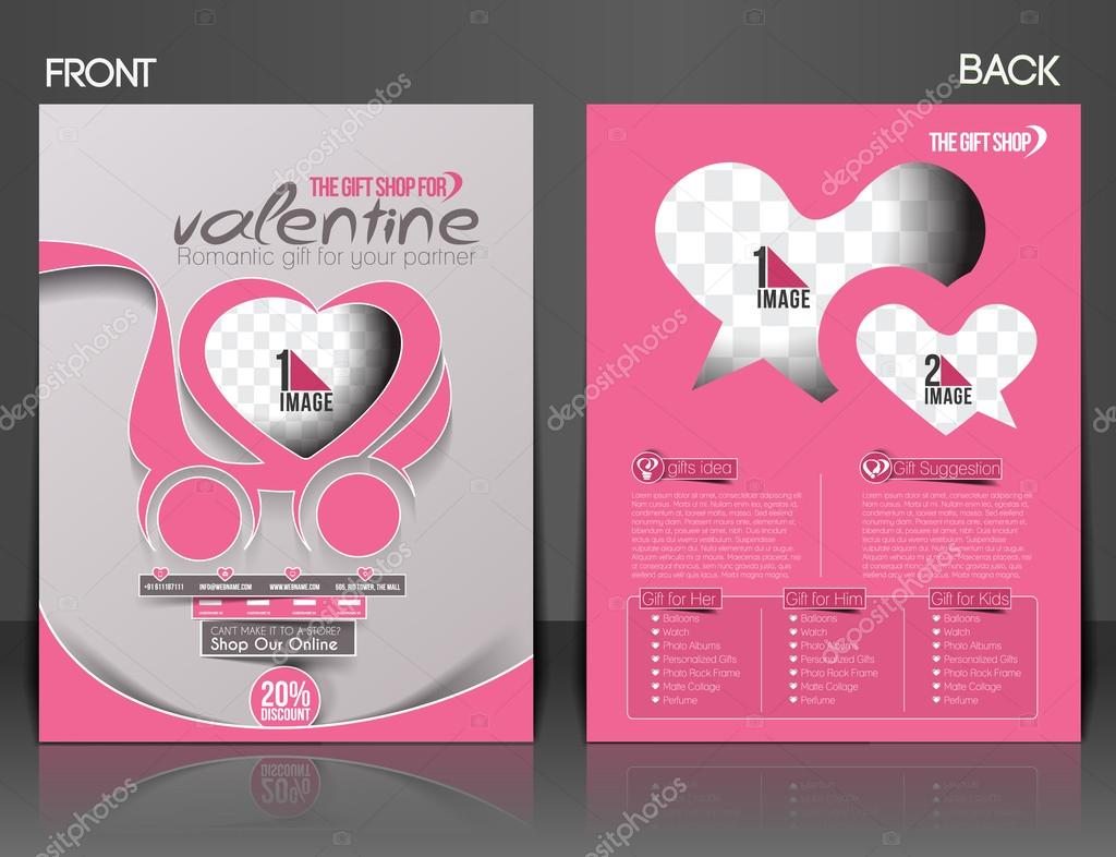 Valentine Gift Shop Flyer Poster Cover Template Stock Vector