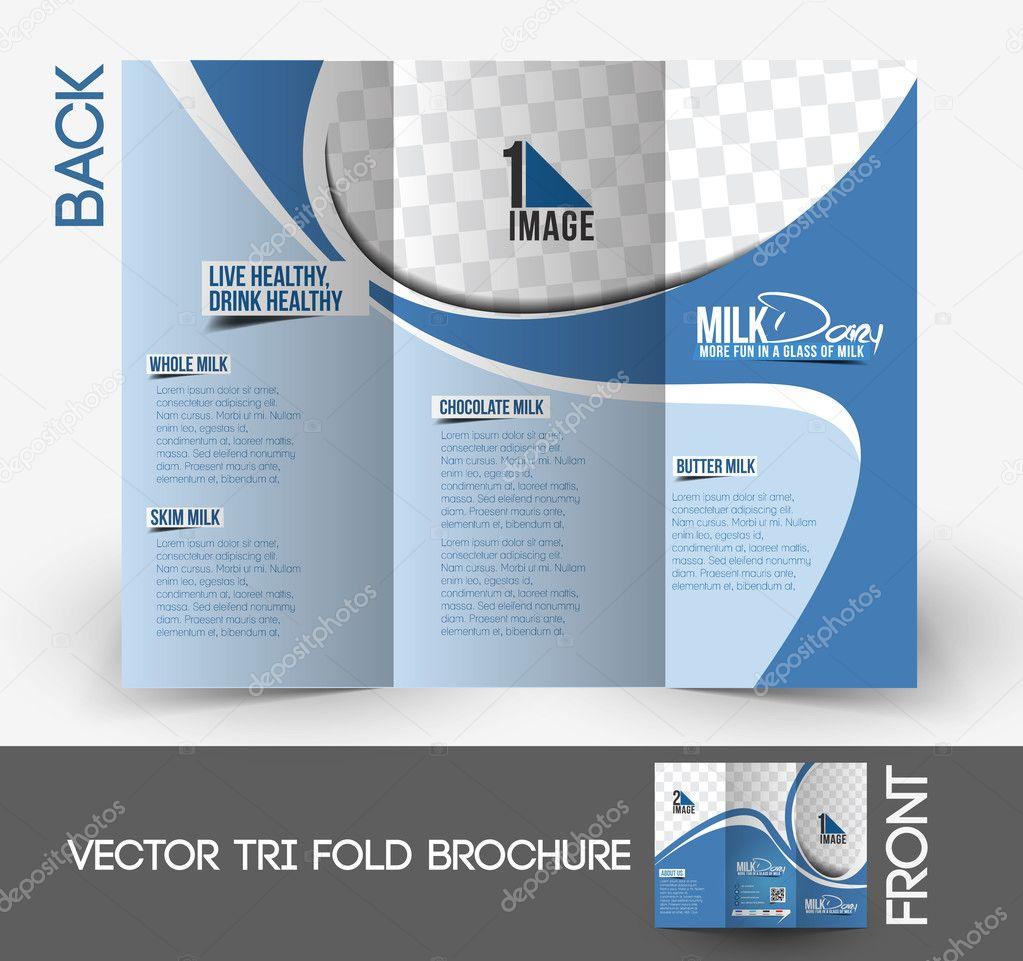 Milk Store Tri-Fold Mock up & Front Brochure Design.