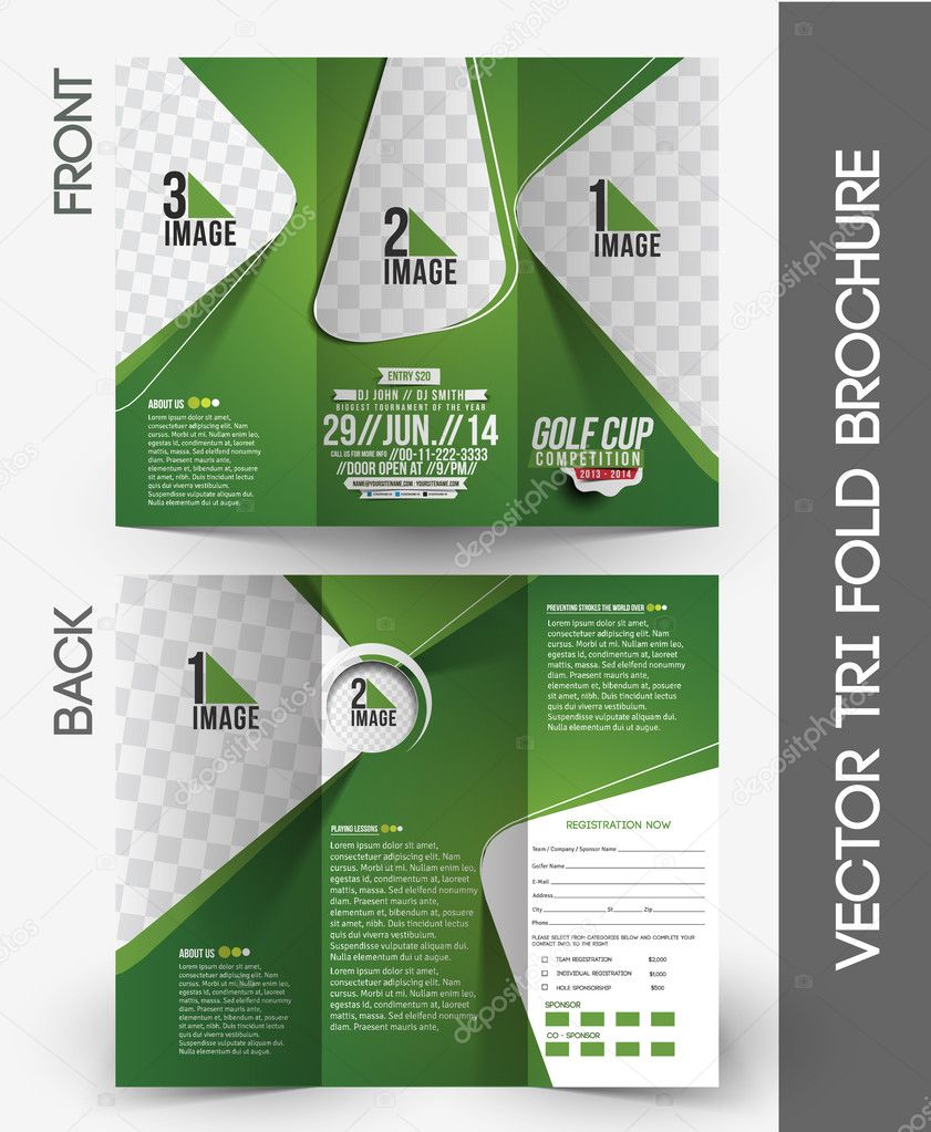 Golf Tournament Tri Fold Brochure U2014 Stock Vector