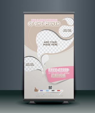 Ice Cream Store Roll Up Banner Design