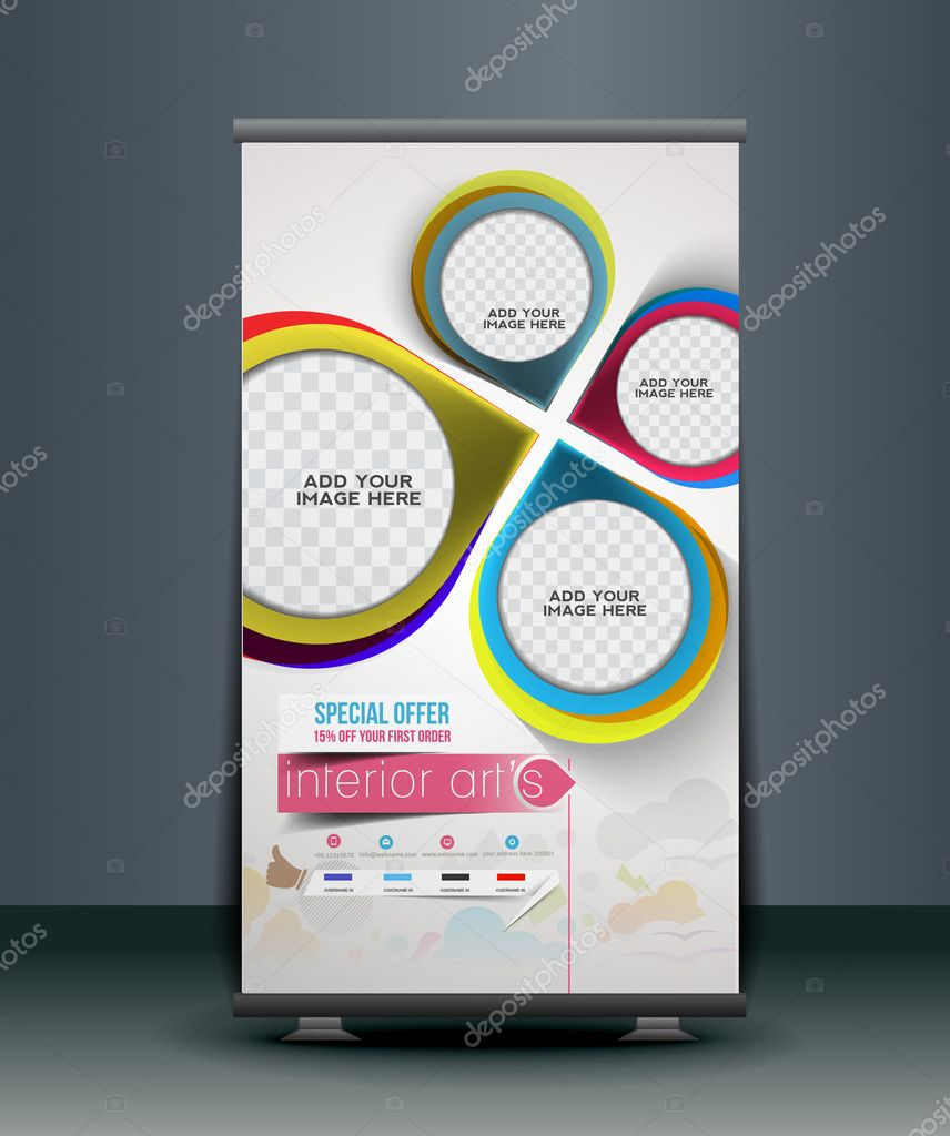 415357923ba Home Decoration Roll Up Banner Stock Vector C Redshinestudio 45955053