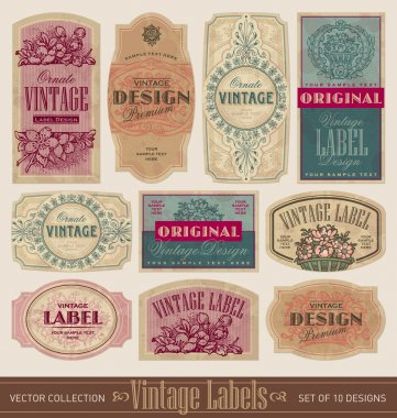 Set of 10 vintage label designs, vector (eps). Grunge effect in separate layer. clip art vector