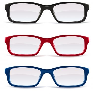 Eyeglasses, black, red and blue