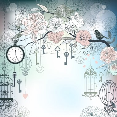 Floral background. Birds, cages, clock, keys, peonies. EPS10 stock vector