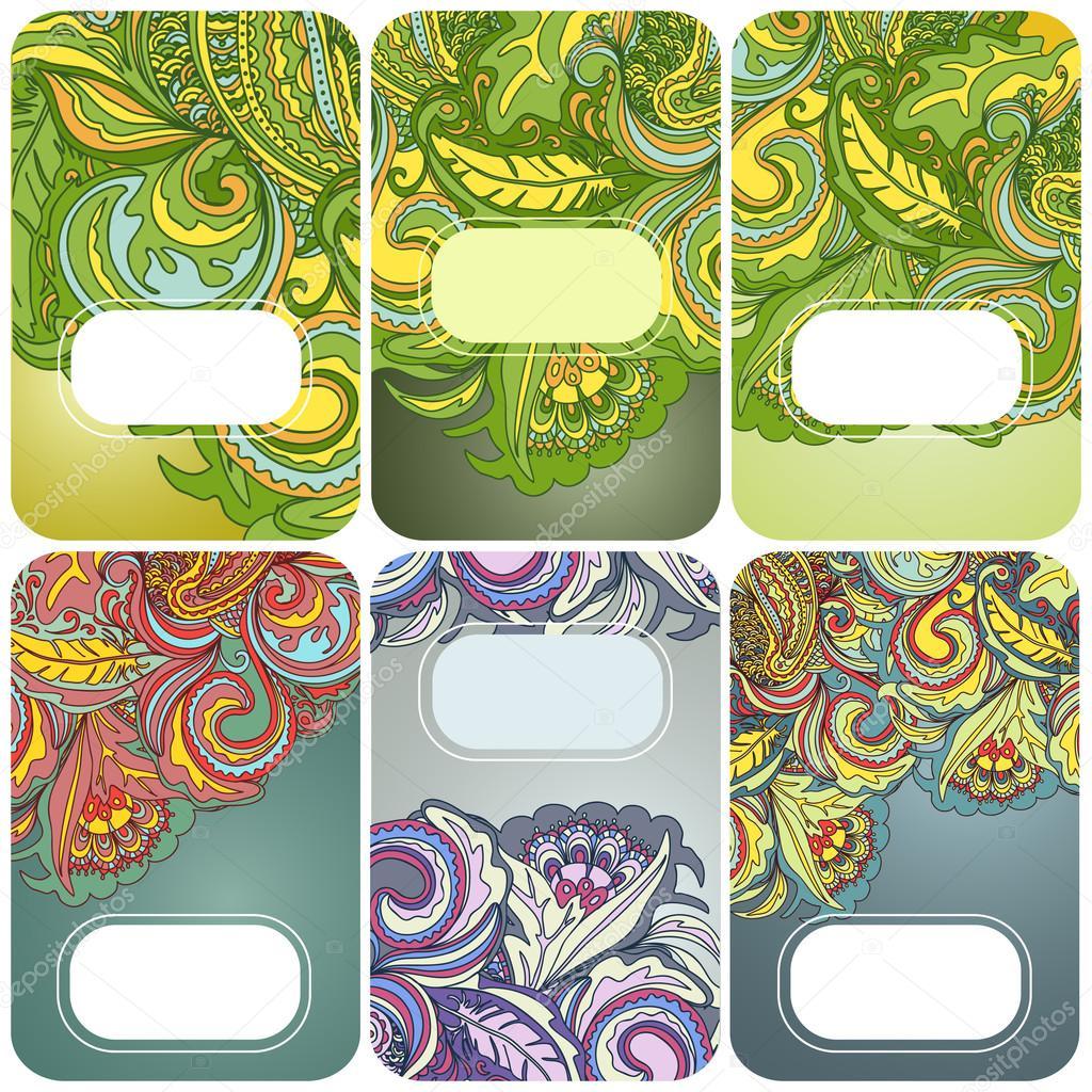 Set of floral card