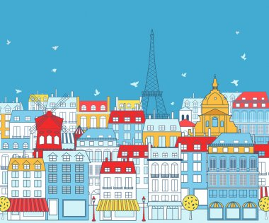 Paris cityscape with traditional buildings
