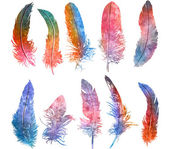 Watercolors bright colors feathers set.