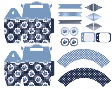 Cottage chic party set with gift box template