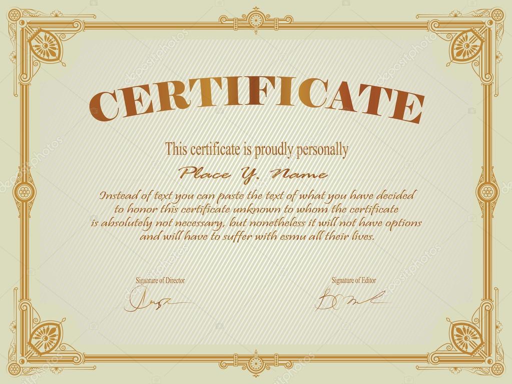 Vintage plantilla marco, certificado o diploma — Vector de stock ...