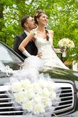 Fényképek Menyasszony és a vőlegény, átölelve és megcsókolta kívül. Esküvői pár port