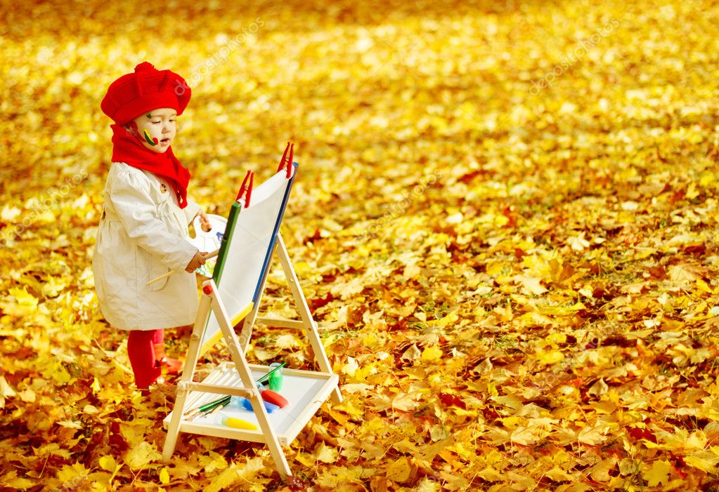 Autumn Baby Girl Drawing in Fall Leaves Park, Kid Painting