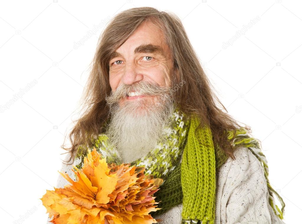 Senior Alter Mann Mit Bart Lange Haare Und Ahorn Blätter