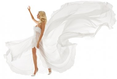 Beautiful woman in white dress with flying fabric