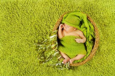 Baby newborn sleeping in woolen hat over green carpet