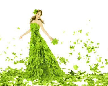 Fantasy beauty, fashion woman in seasons spring leaves dress. Creative beautiful girl in green summer gown, over white background
