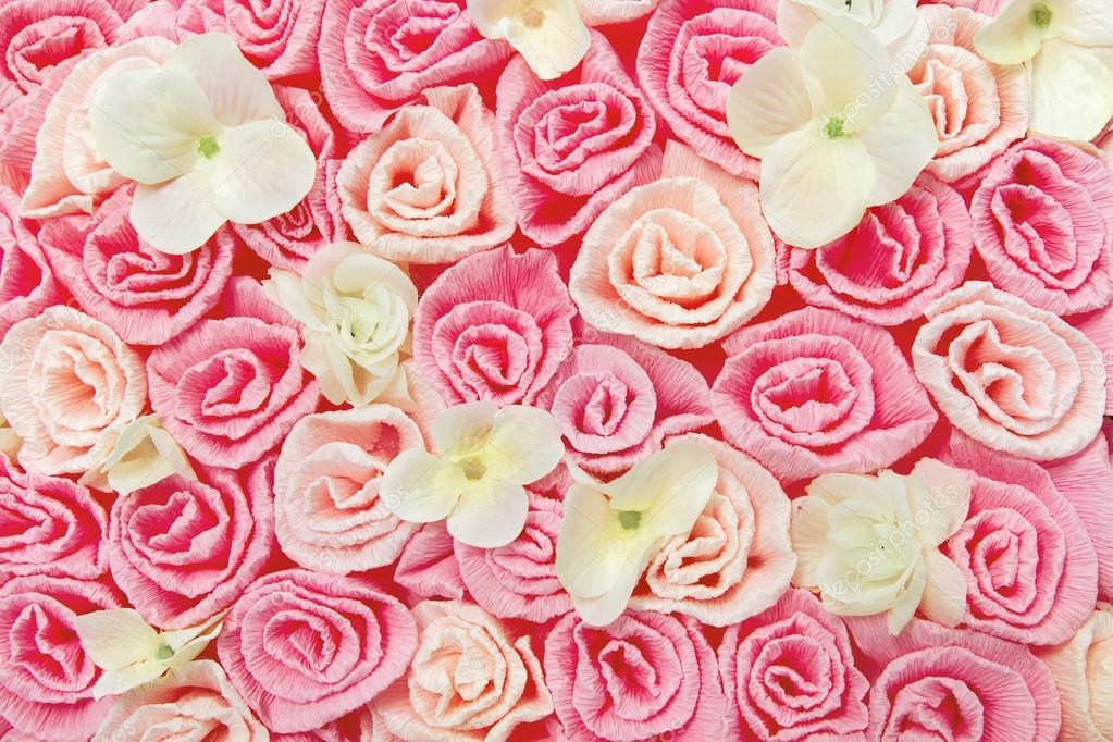 Flores Lilas Con Rosas Sobre Fondo: Fondo De Flores Rosas. Textura