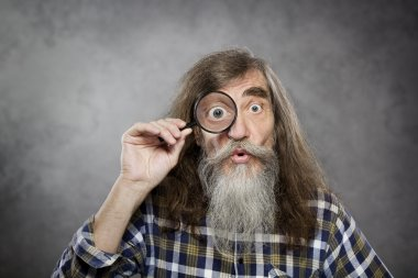Senior old man looking through zoom magnifying glass. Funny elder amazement investigation or test vision loss stock vector