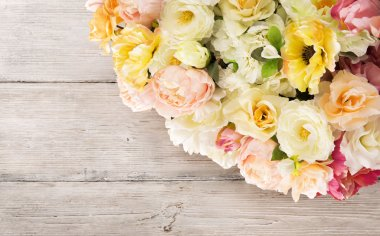 Flowers bouquet of peony, summer arrangement, wooden grunge background