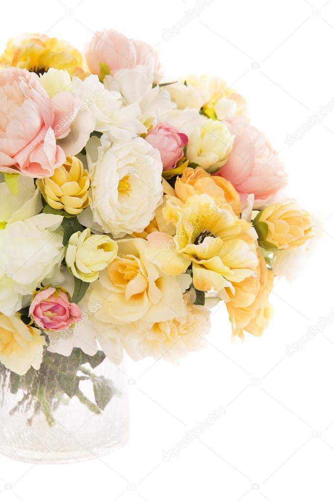 Flowers bouquet peony in vase, pastel floral colors isolated over white background