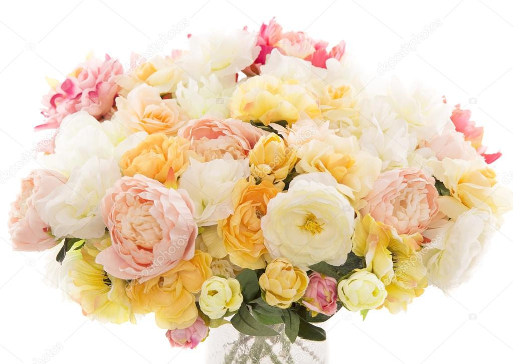 Flowers bouquet peony, pastel floral colors over white background