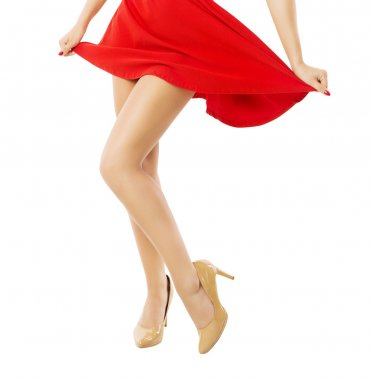 Legs woman dancing close up. Depilation Isolated white background