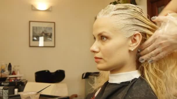 Profesyonel Bayan Kuaför Kadın Müşteri Boyama Stok Video