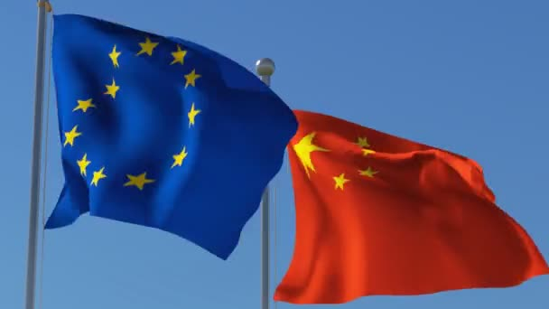 Flags of European Union and China