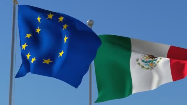 Flags of European Union and Mexico