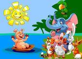 šťastná zvířata při pohledu na prase koupal v vana pod sluncem