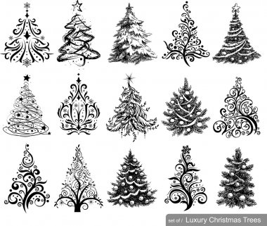 Set of Drawn Christmas Trees
