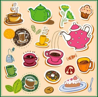 Set of tea design elements