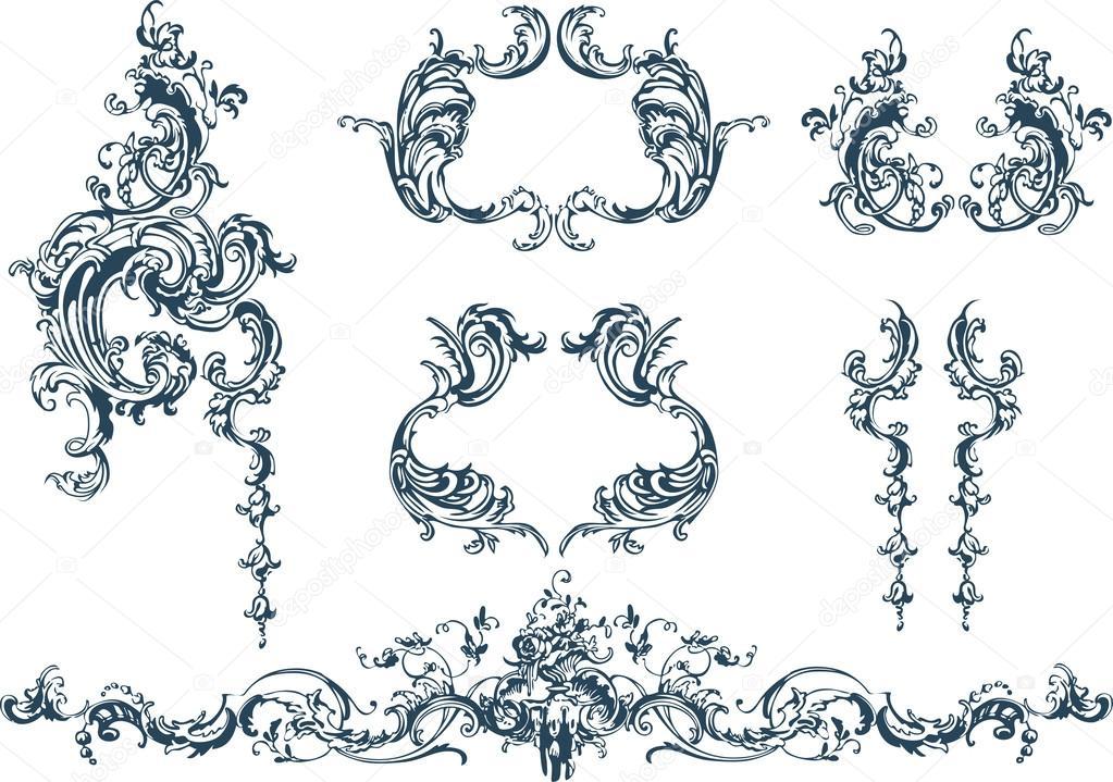 Decorative elements, rococo style — Stock Vector © azzzya ... Барокко Орнамент