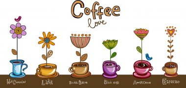 Coffee love, cups with flowers