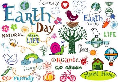 Earth day doodles and inscriptions