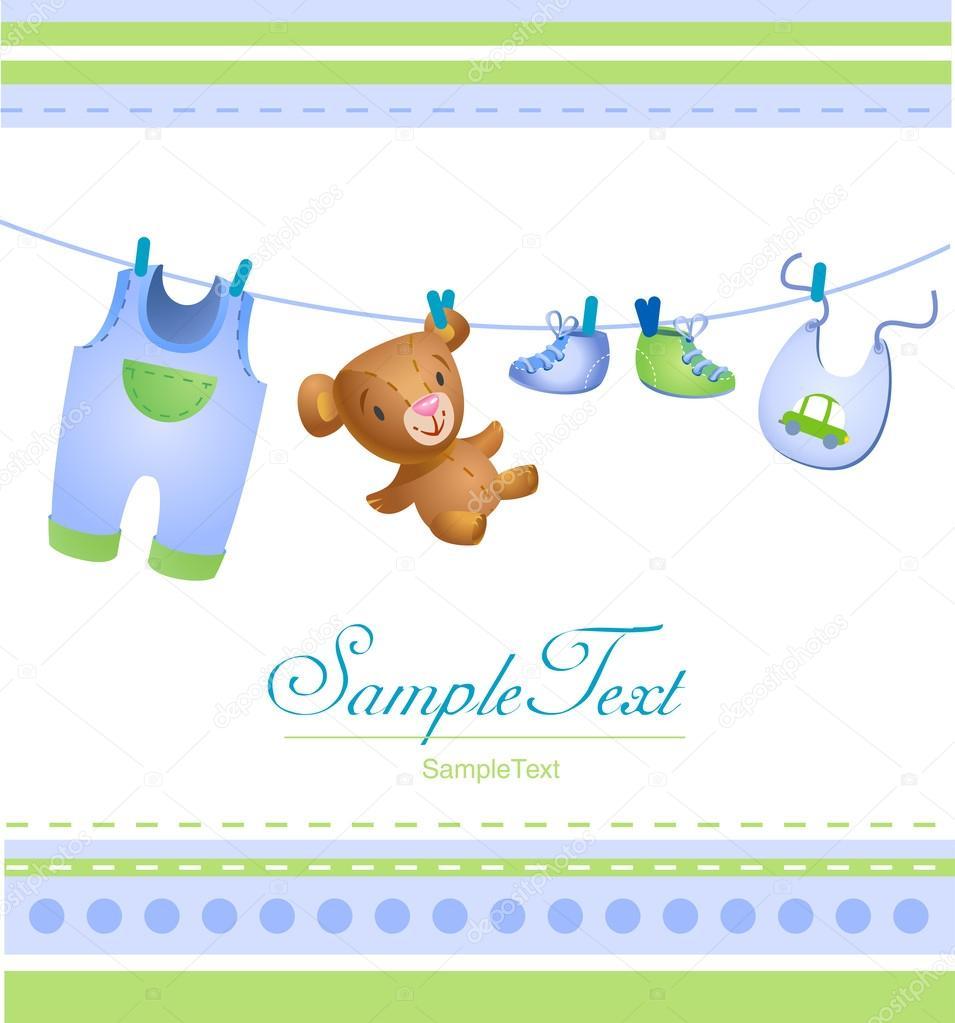 Baby Boy Greeting Card Stock Vector Azzzya 32870595
