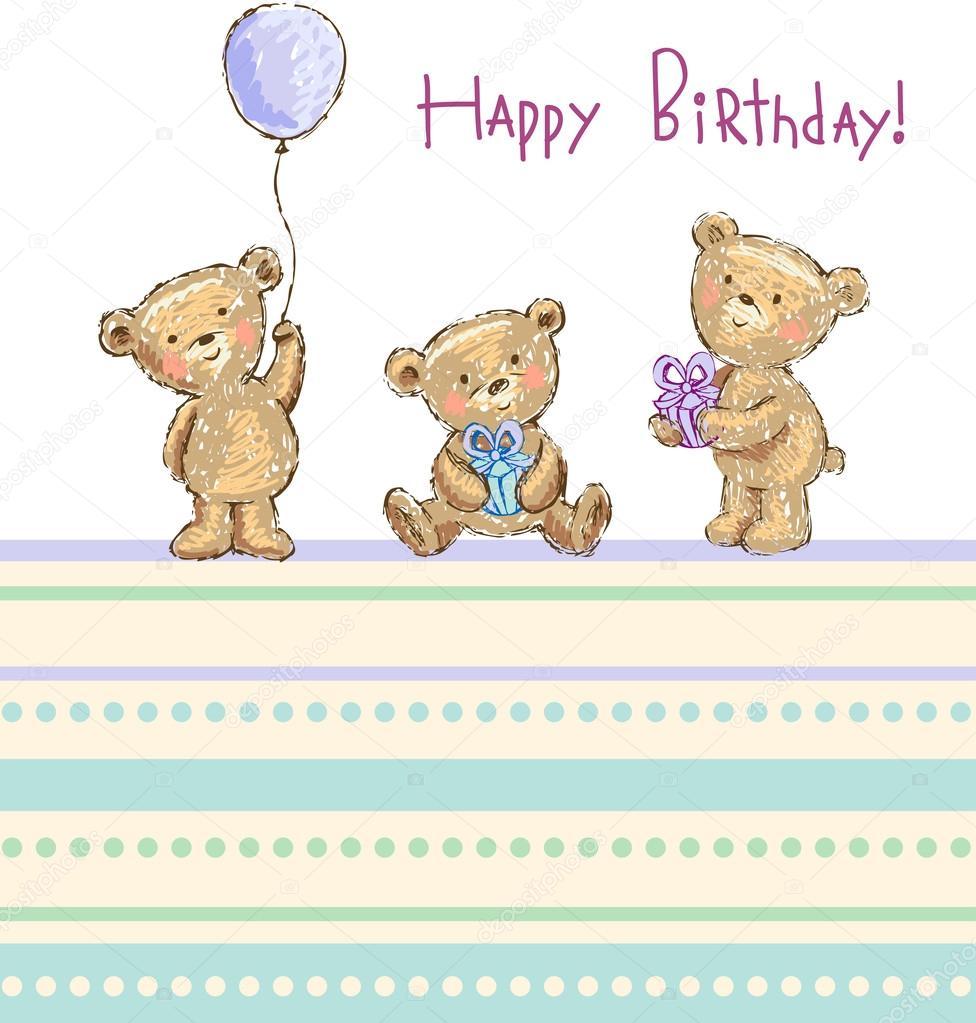 Birthday Greetings From Cute Bears Stock Vector Azzzya 32870801