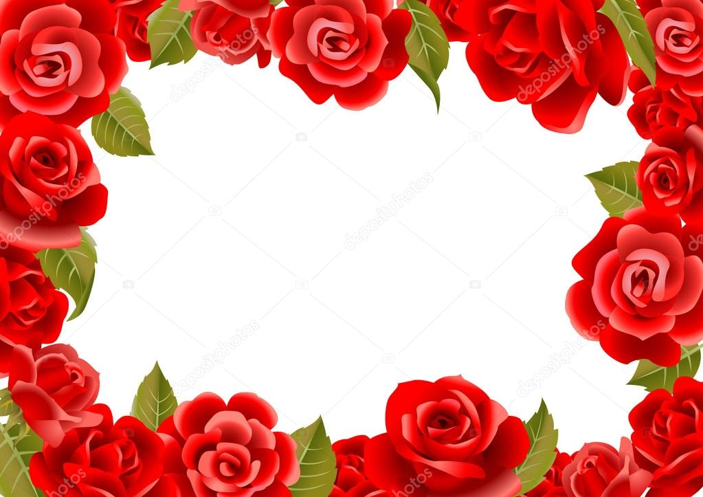 Roses Frame Greeting Card Stock Vector Azzzya 32870907
