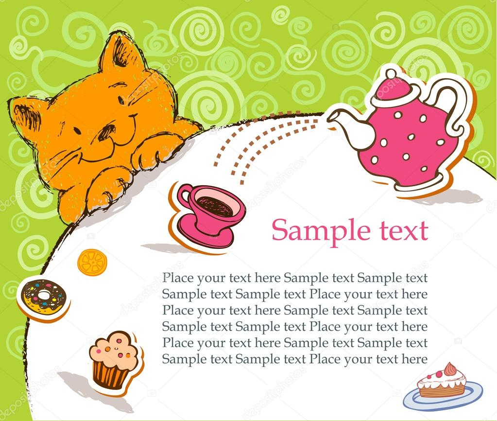 Birthday Greeting Card With Red Cat Stock Vector Azzzya 32871329