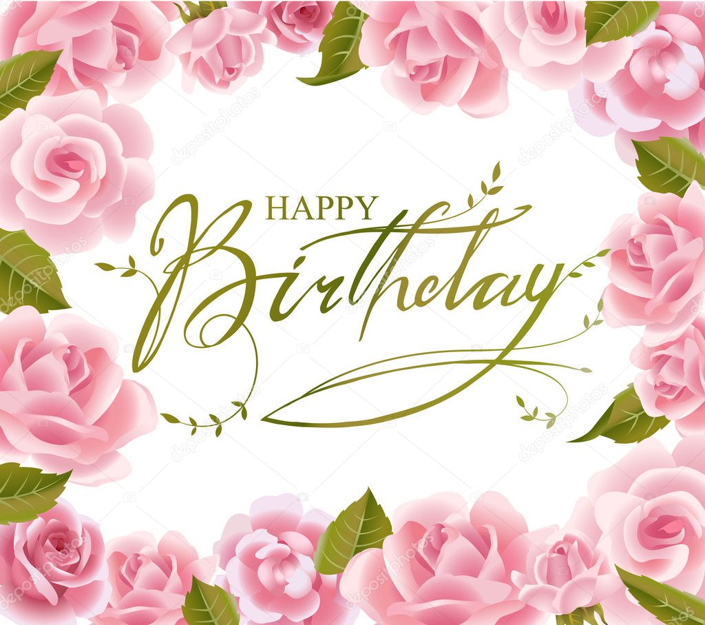 Roses Frame For Birthday Greeting Card Stock Vector Azzzya 33504283