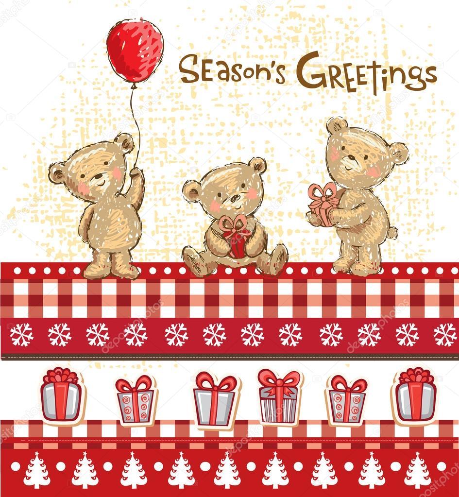 Cute bears, seasons greetings.
