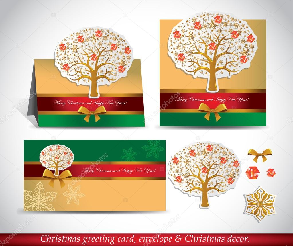 christmas greeting card with envelope and decor presentation vector by azzzya