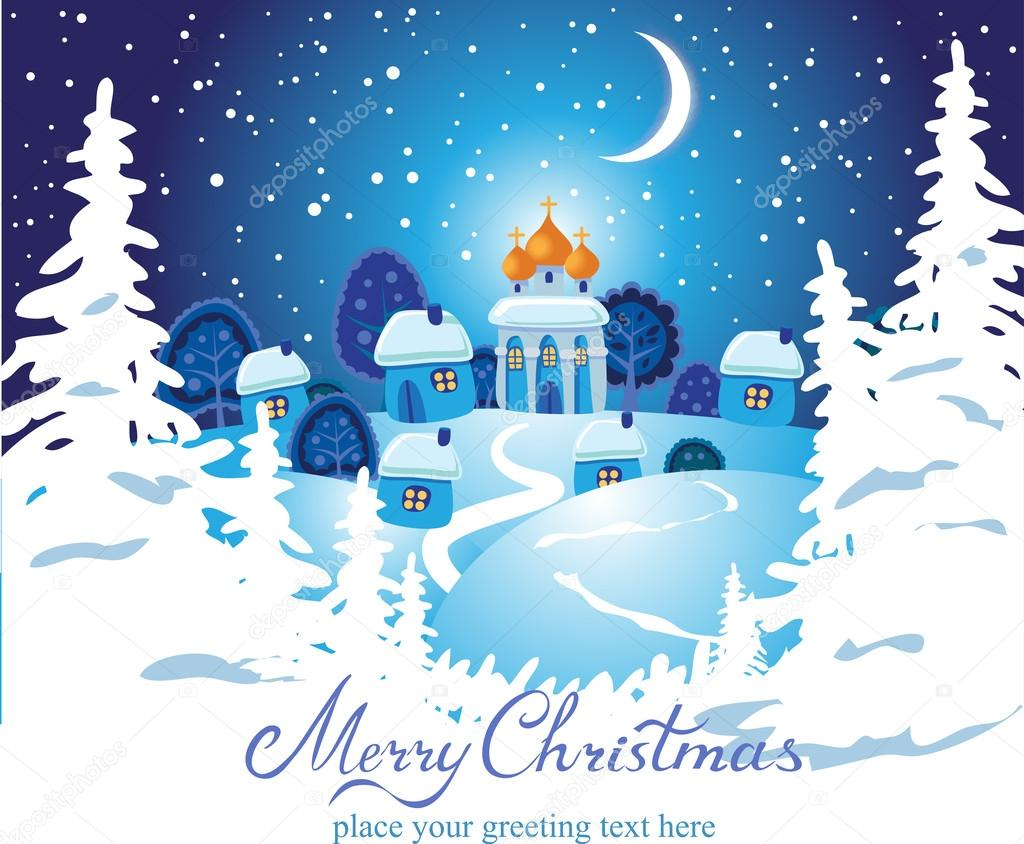 Merry Christmas Card With Church Stock Vector Azzzya 34984499