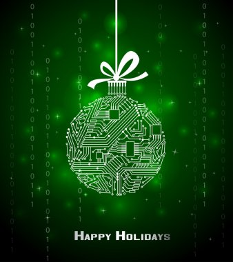 Hi-tech Christmas ball on green background