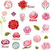 Photo Set of rose flower design elements