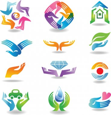 Design elements with hands which hold and protect stock vector