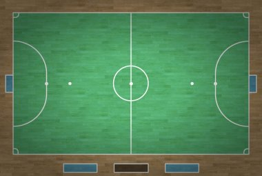 An overhead view of a futsal court complete with markings. stock vector