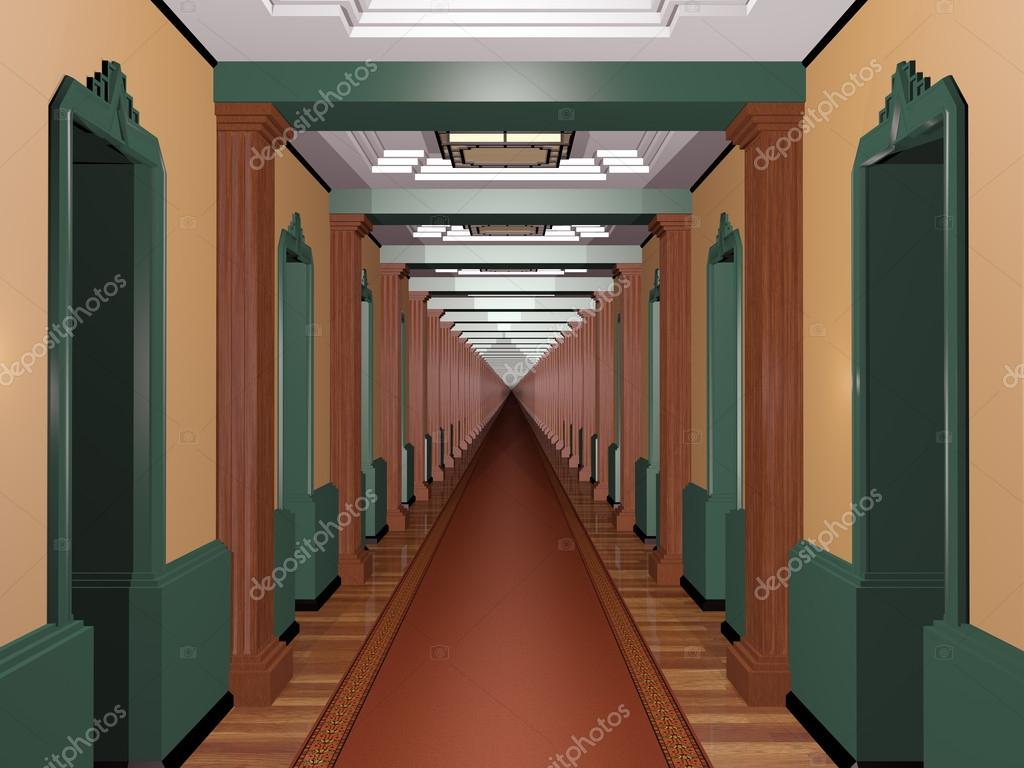 Never ending art deco corridor u stock photo paulfleet
