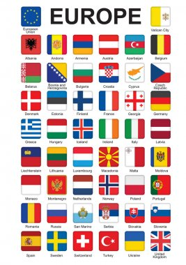 Buttons with flags of Europe