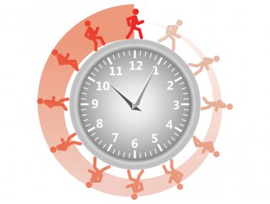 Man running around the clock
