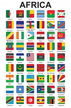 Push buttons with African countries flags
